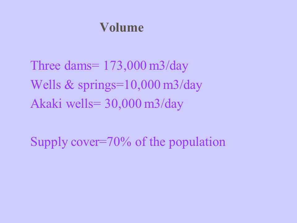 Volume Three dams= 173,000 m3/day. Wells & springs=10,000 m3/day.