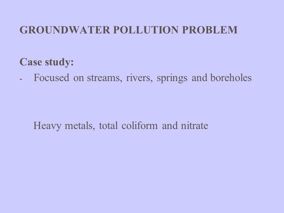 GROUNDWATER POLLUTION PROBLEM
