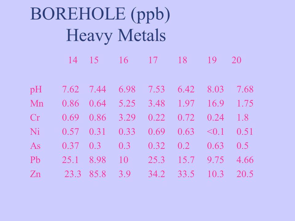 BOREHOLE (ppb) Heavy Metals