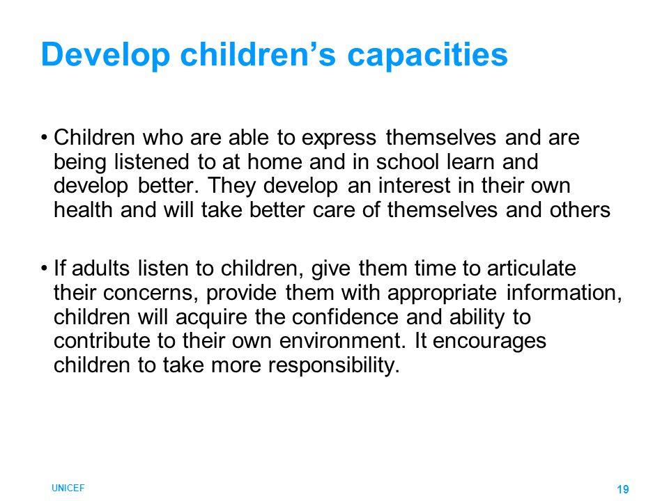 Develop children's capacities