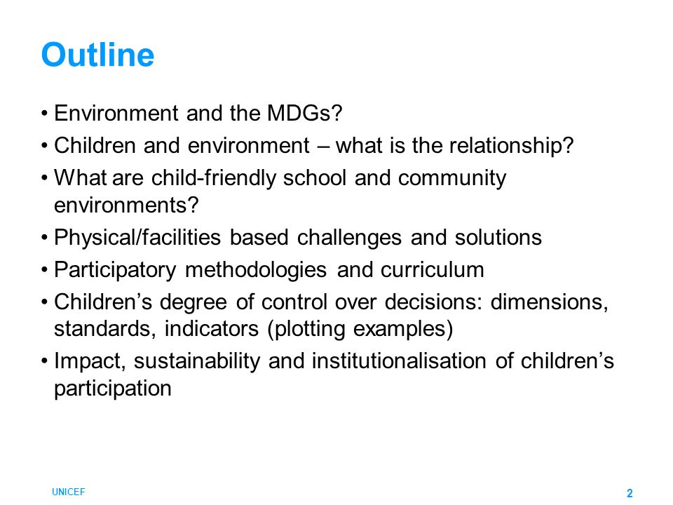 Outline Environment and the MDGs