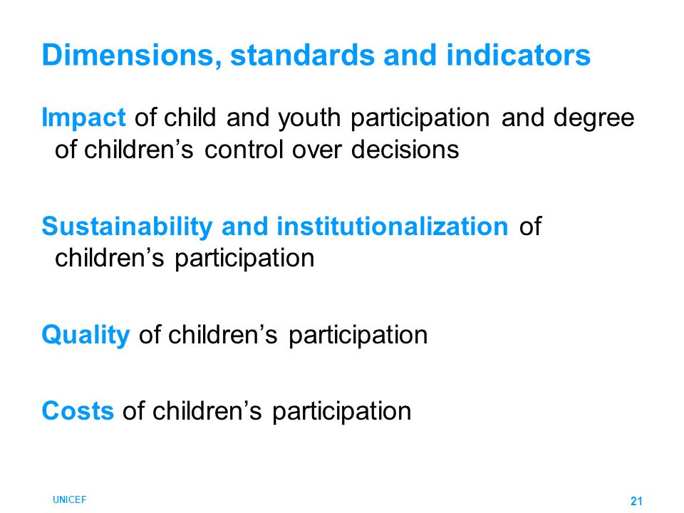 Dimensions, standards and indicators