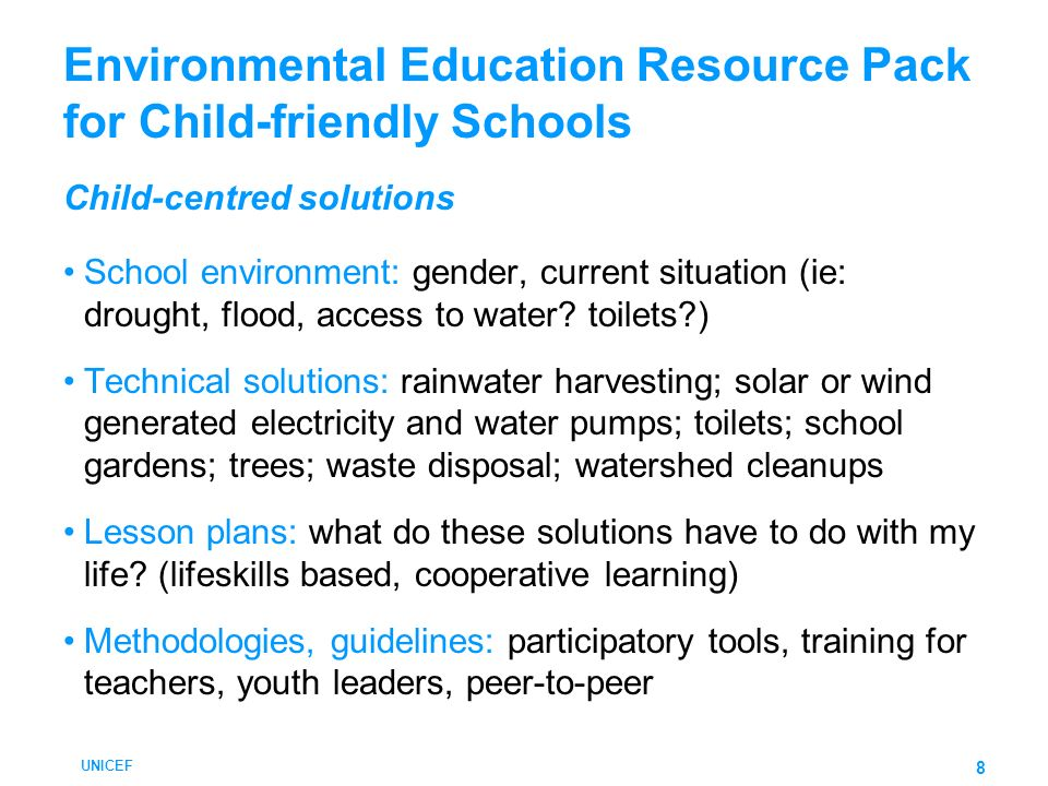 Environmental Education Resource Pack for Child-friendly Schools Child-centred solutions