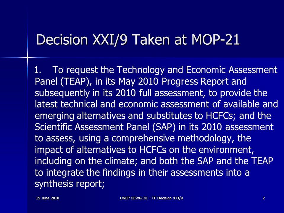 Decision XXI/9 Taken at MOP-21