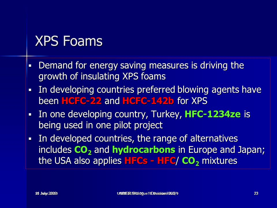 XPS Foams Demand for energy saving measures is driving the growth of insulating XPS foams.