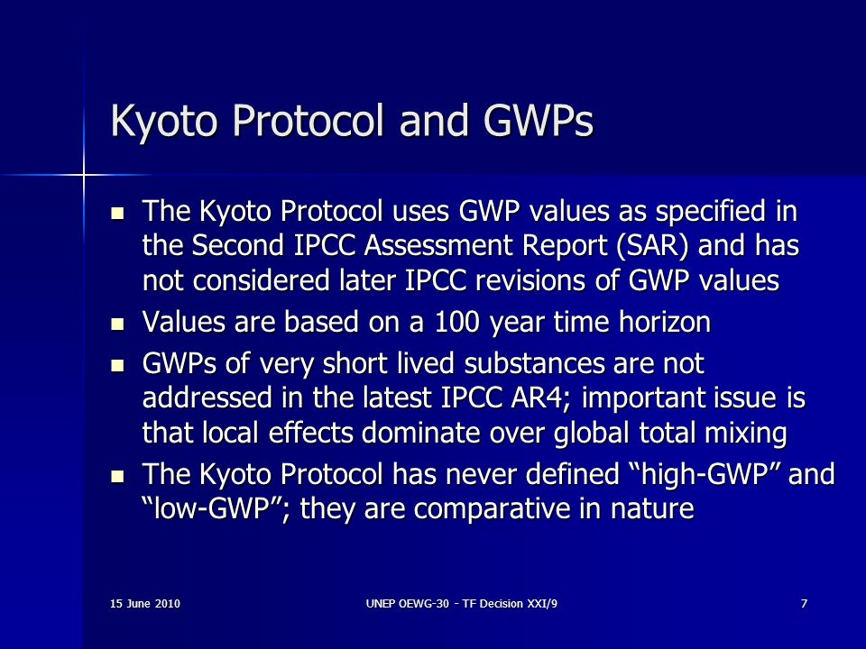 Kyoto Protocol and GWPs