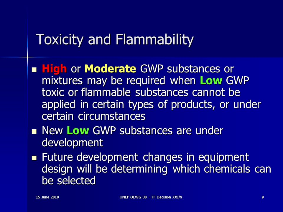 Toxicity and Flammability