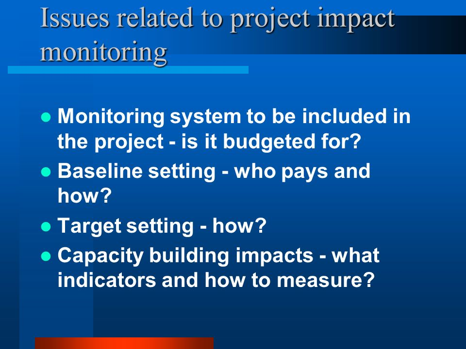 Issues related to project impact monitoring