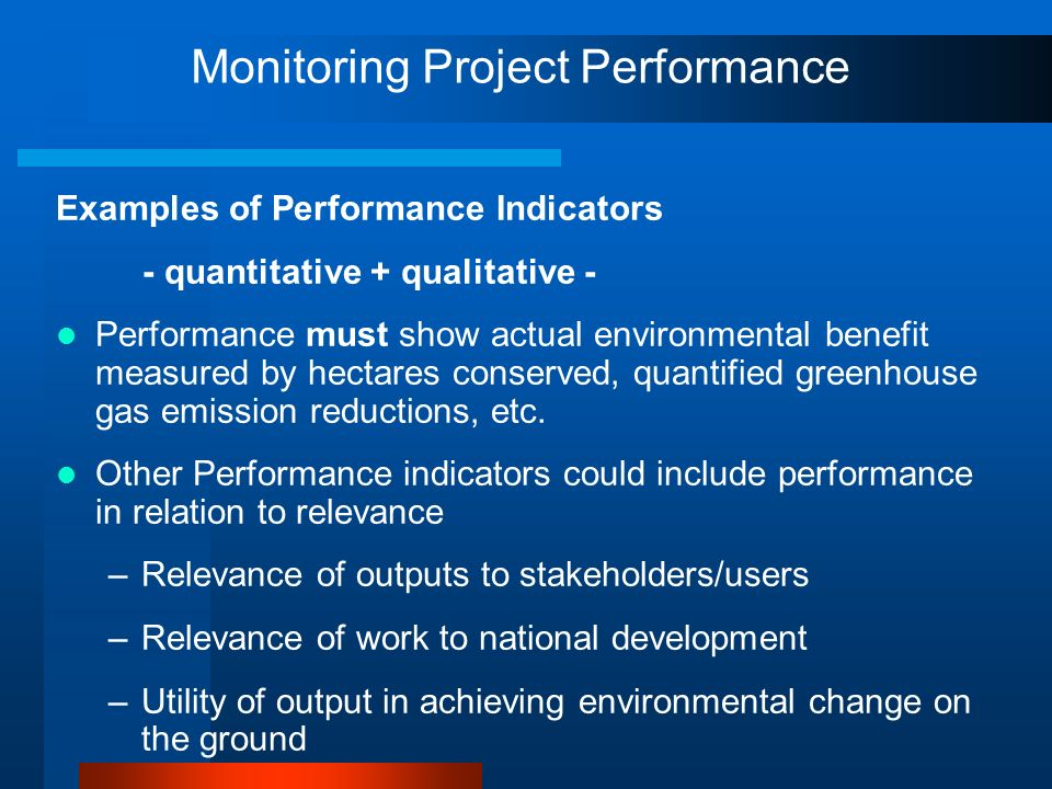 Monitoring Project Performance