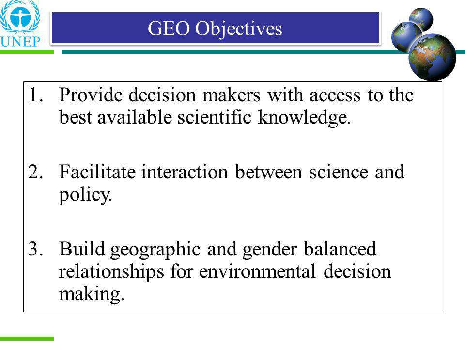 GEO Objectives 1. Provide decision makers with access to the best available scientific knowledge.