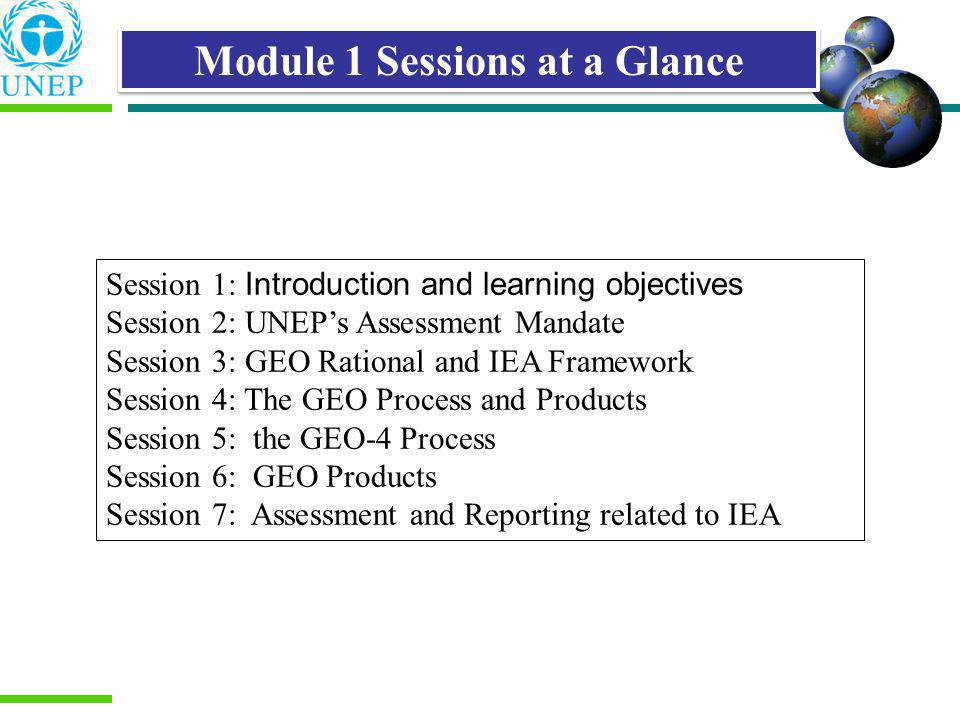 Module 1 Sessions at a Glance