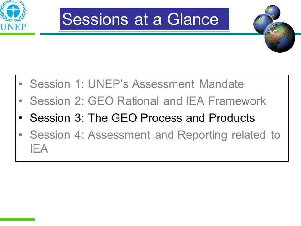 Sessions at a Glance Session 1: UNEP's Assessment Mandate