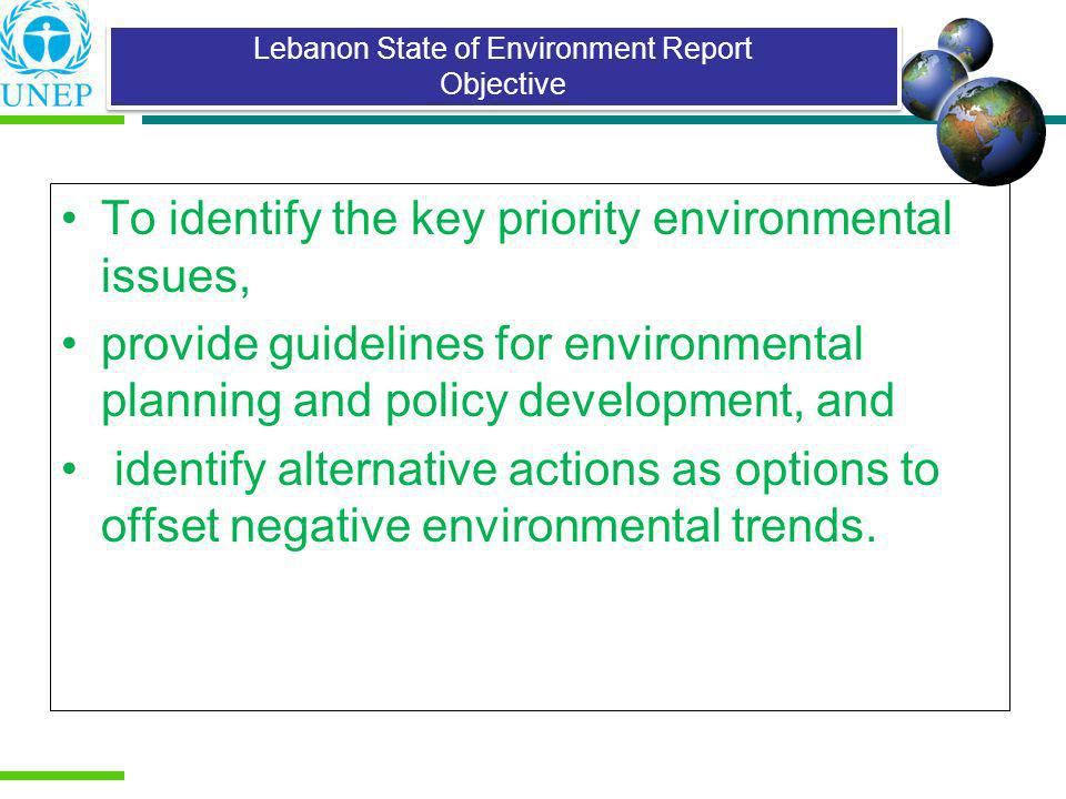 Lebanon State of Environment Report Objective