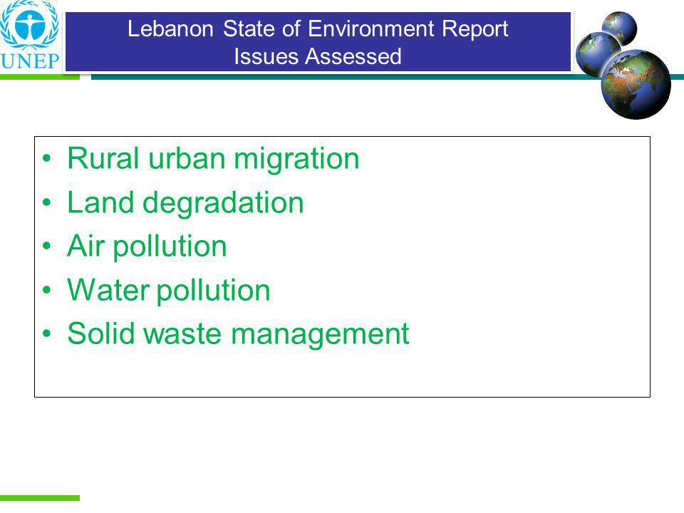 Lebanon State of Environment Report Issues Assessed