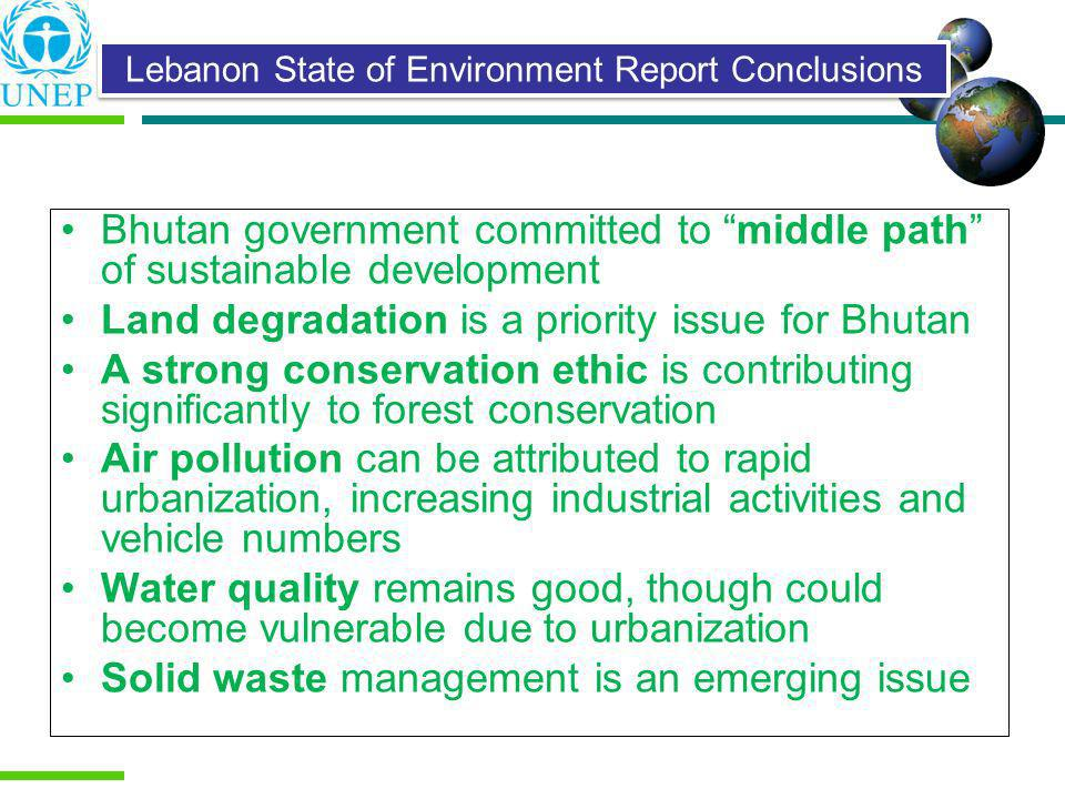 Lebanon State of Environment Report Conclusions
