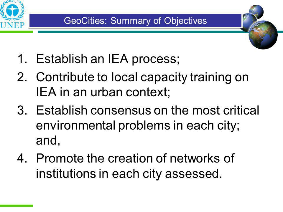 GeoCities: Summary of Objectives