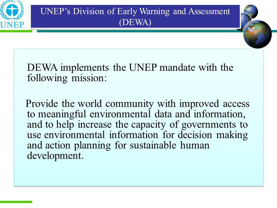 UNEP's Division of Early Warning and Assessment (DEWA)