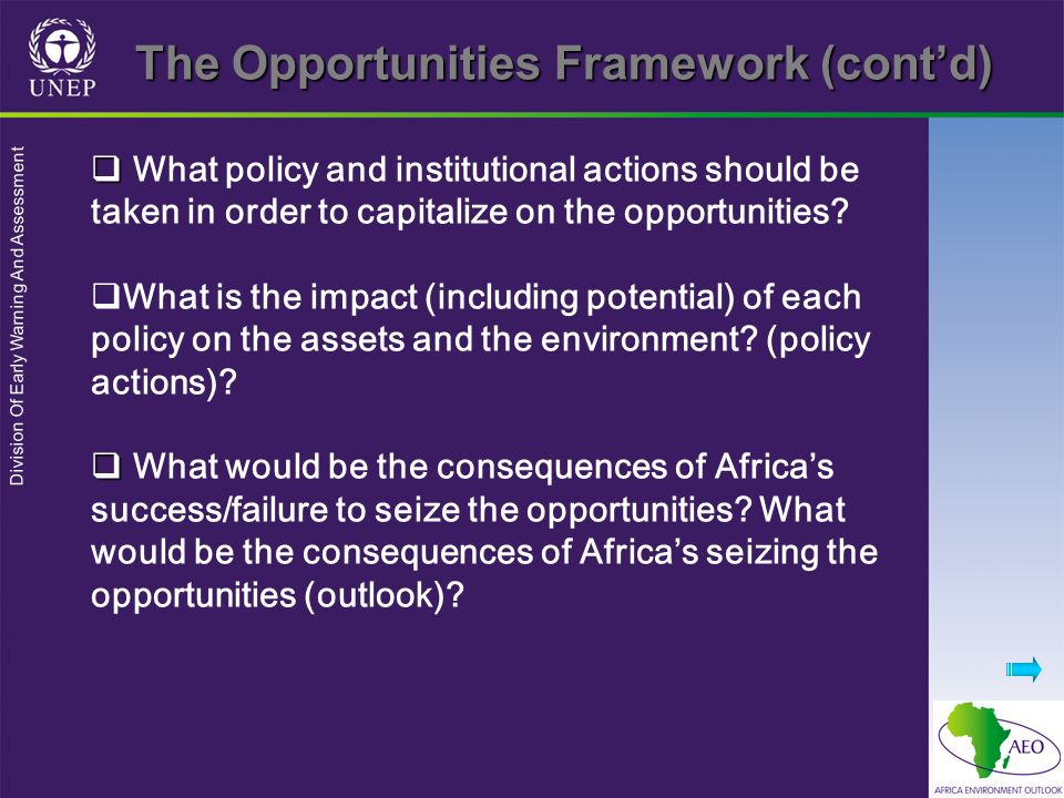 The Opportunities Framework (cont'd)