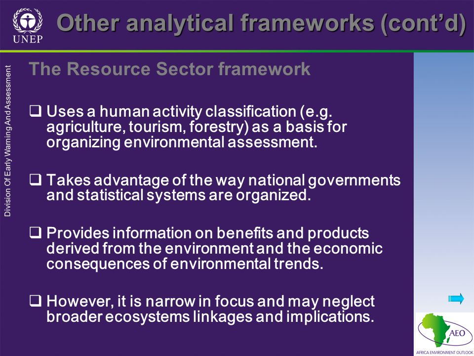 Other analytical frameworks (cont'd)