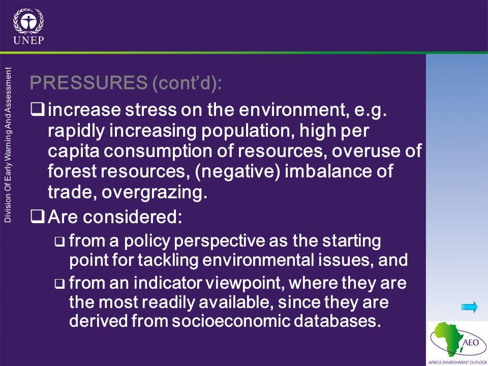 PRESSURES (cont'd):