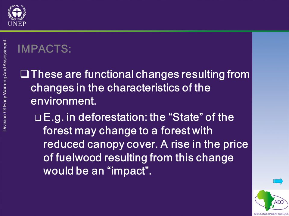 IMPACTS: These are functional changes resulting from changes in the characteristics of the environment.