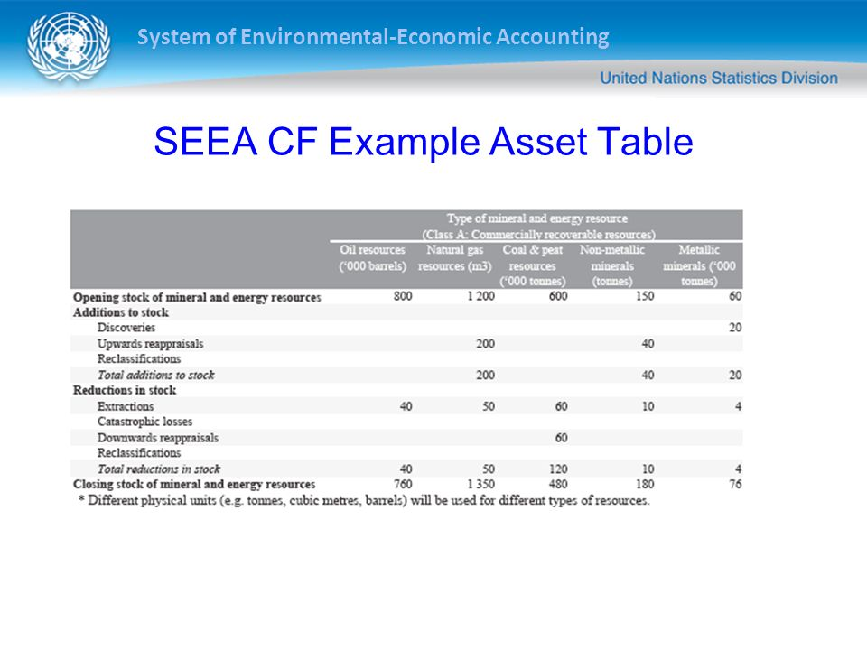 SEEA CF Example Asset Table
