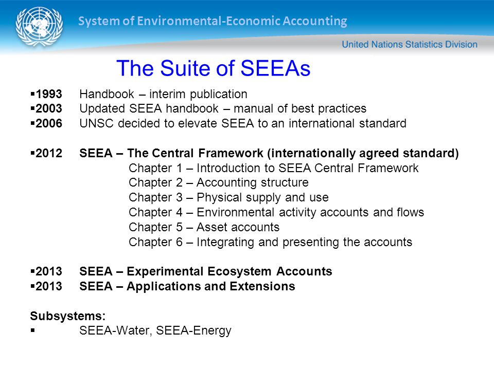 The Suite of SEEAs 1993 Handbook – interim publication