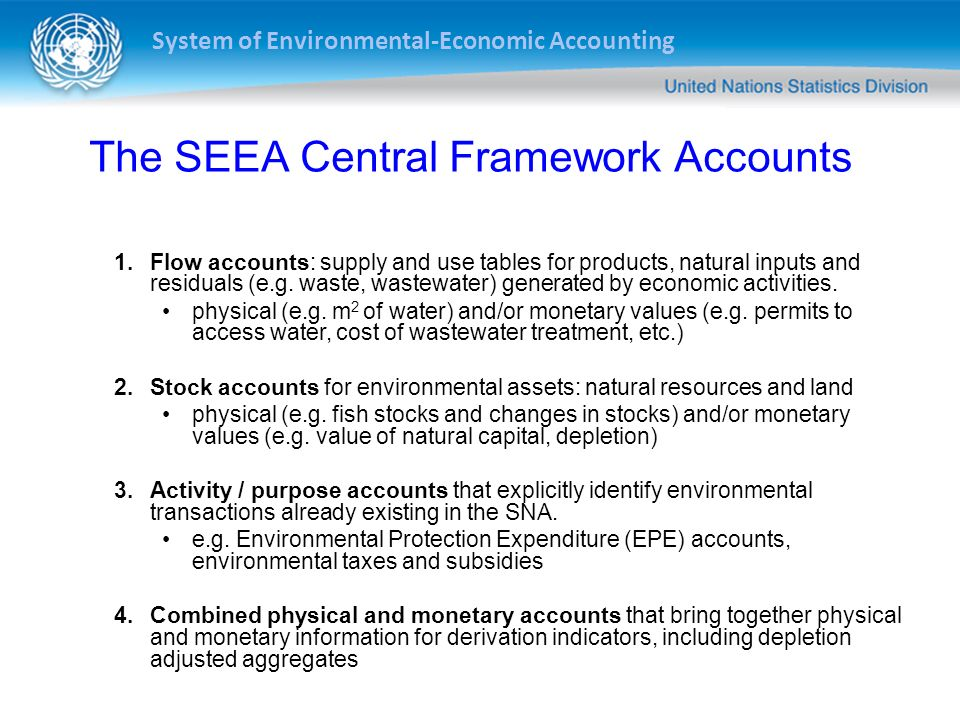 The SEEA Central Framework Accounts