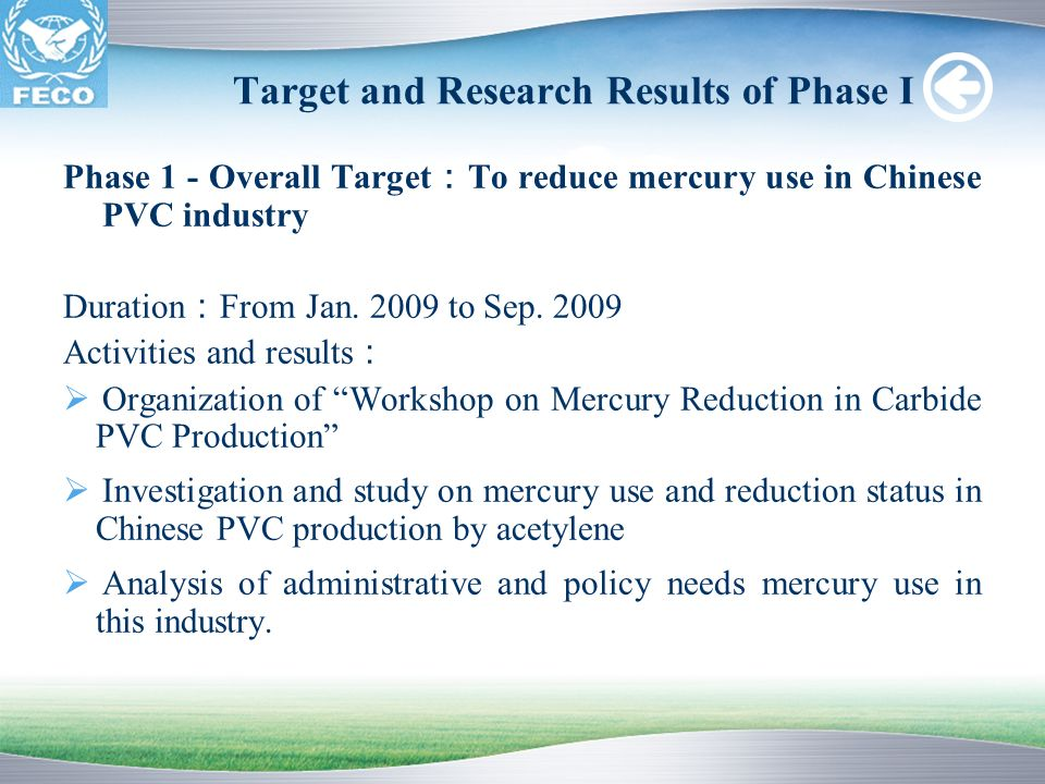 Target and Research Results of Phase I