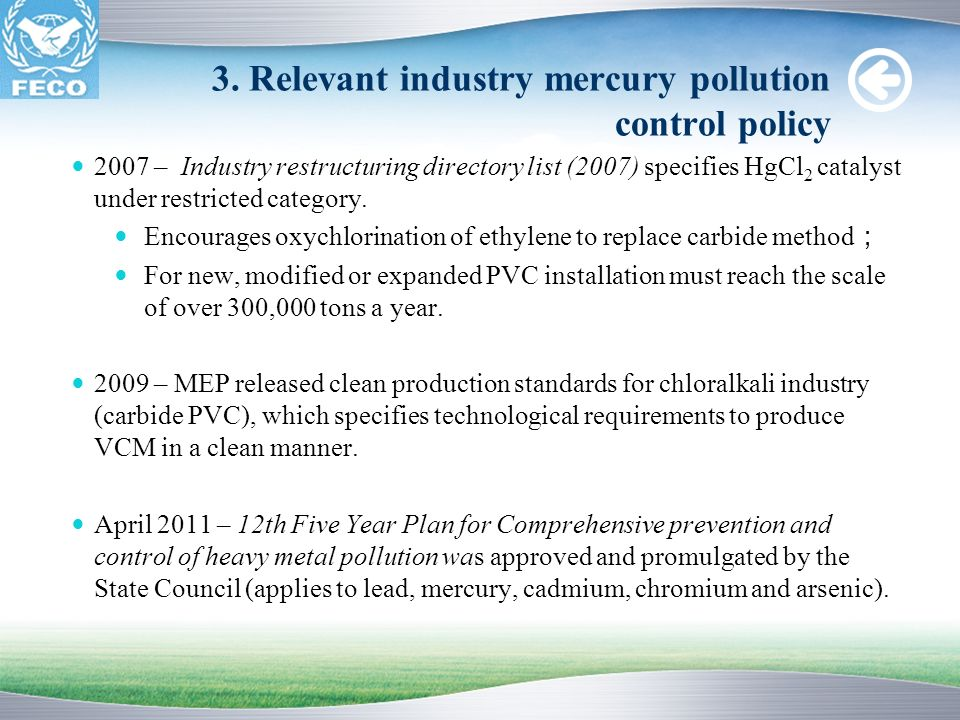 3. Relevant industry mercury pollution control policy