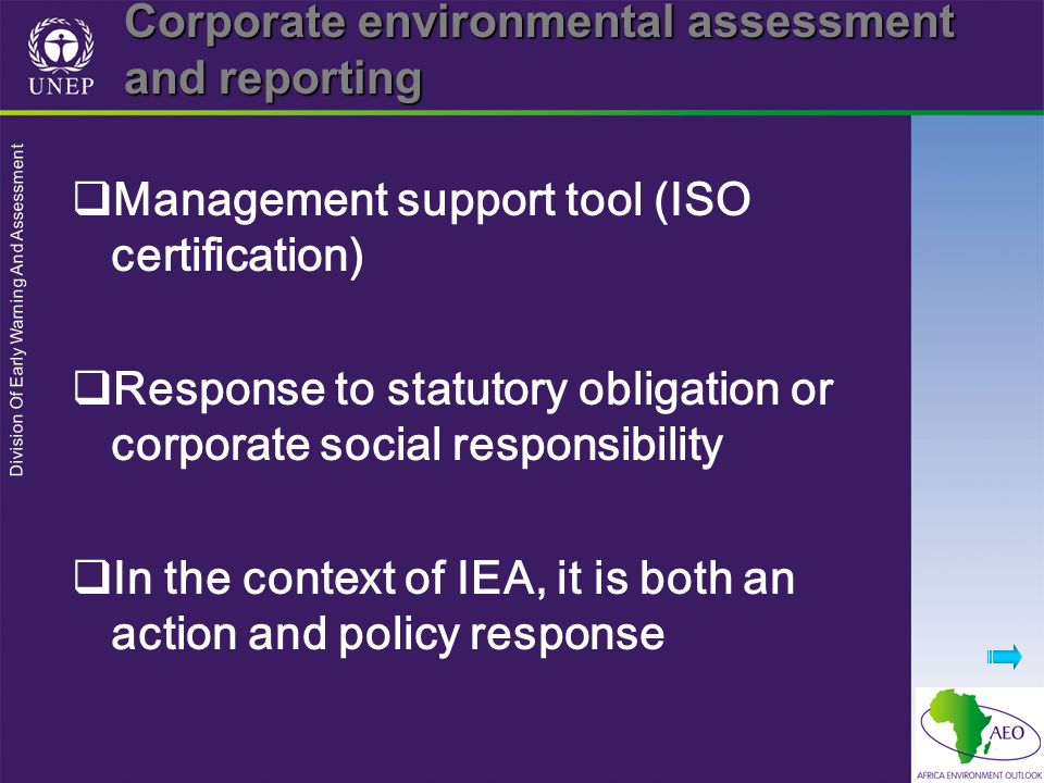Corporate environmental assessment and reporting