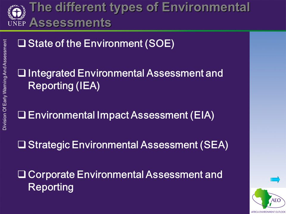 The different types of Environmental Assessments