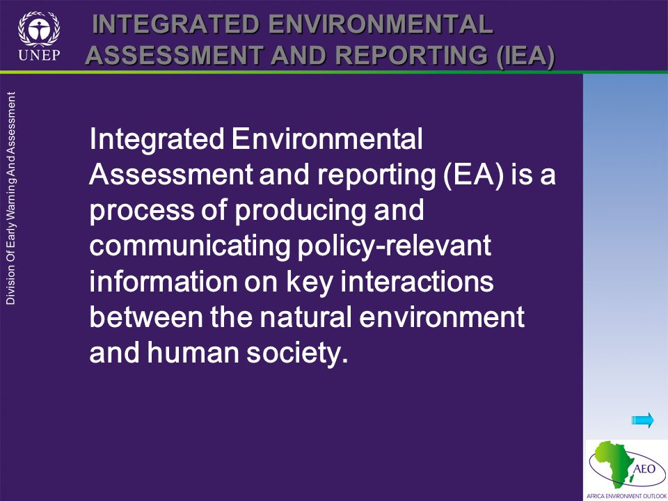 INTEGRATED ENVIRONMENTAL ASSESSMENT AND REPORTING (IEA)
