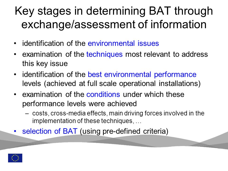 Key stages in determining BAT through exchange/assessment of information
