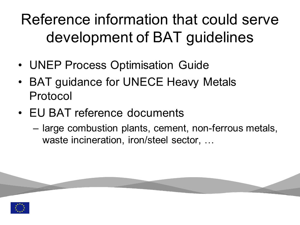 Reference information that could serve development of BAT guidelines