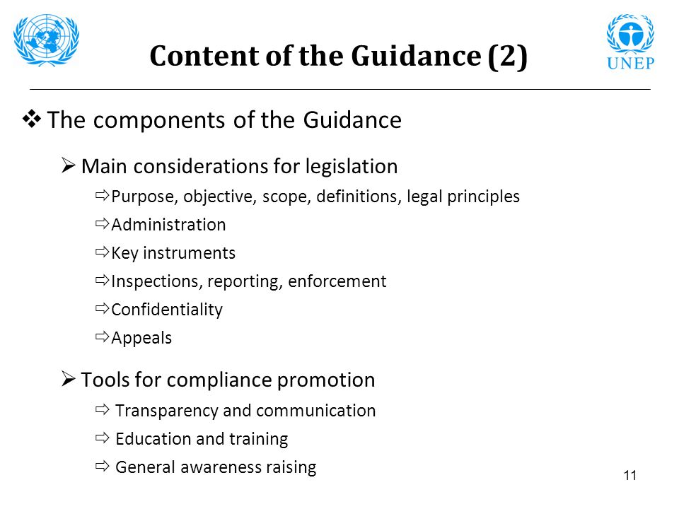 Content of the Guidance (2)