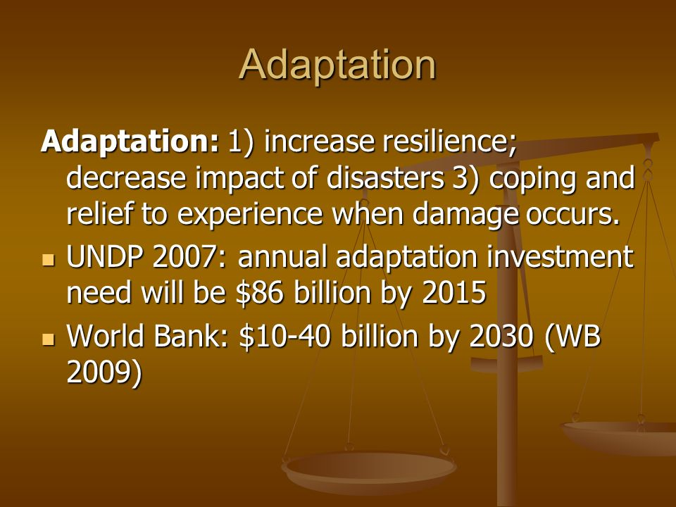 Adaptation Adaptation: 1) increase resilience; decrease impact of disasters 3) coping and relief to experience when damage occurs.
