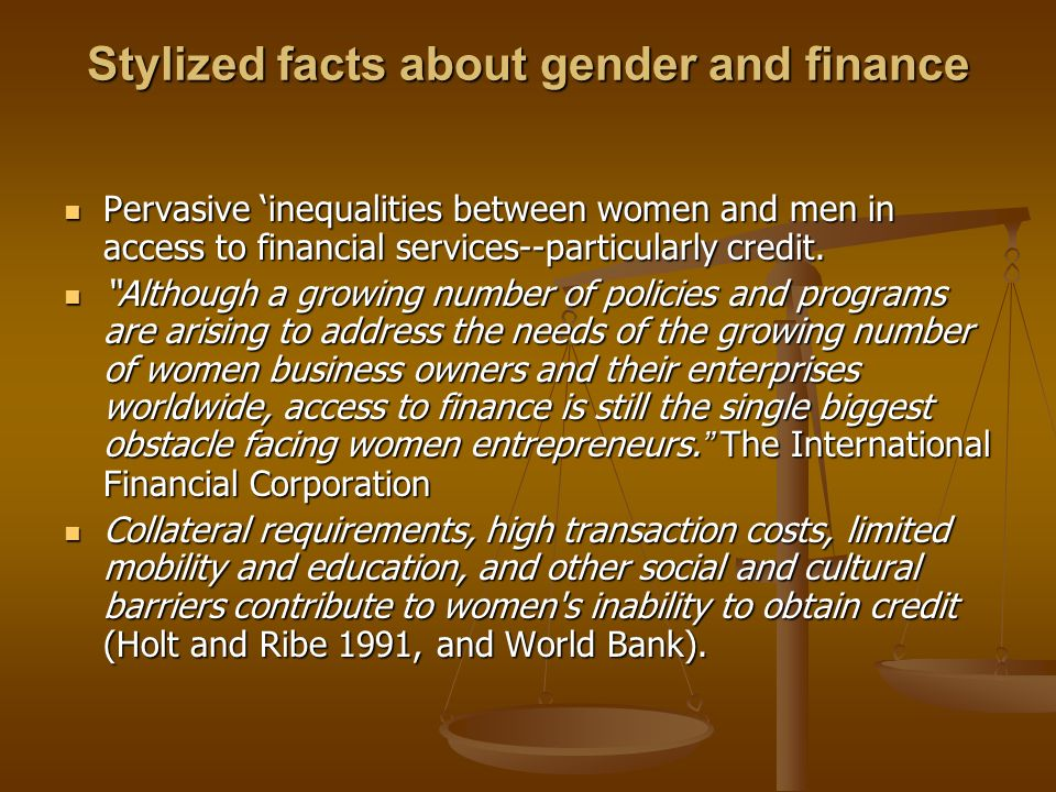 Stylized facts about gender and finance
