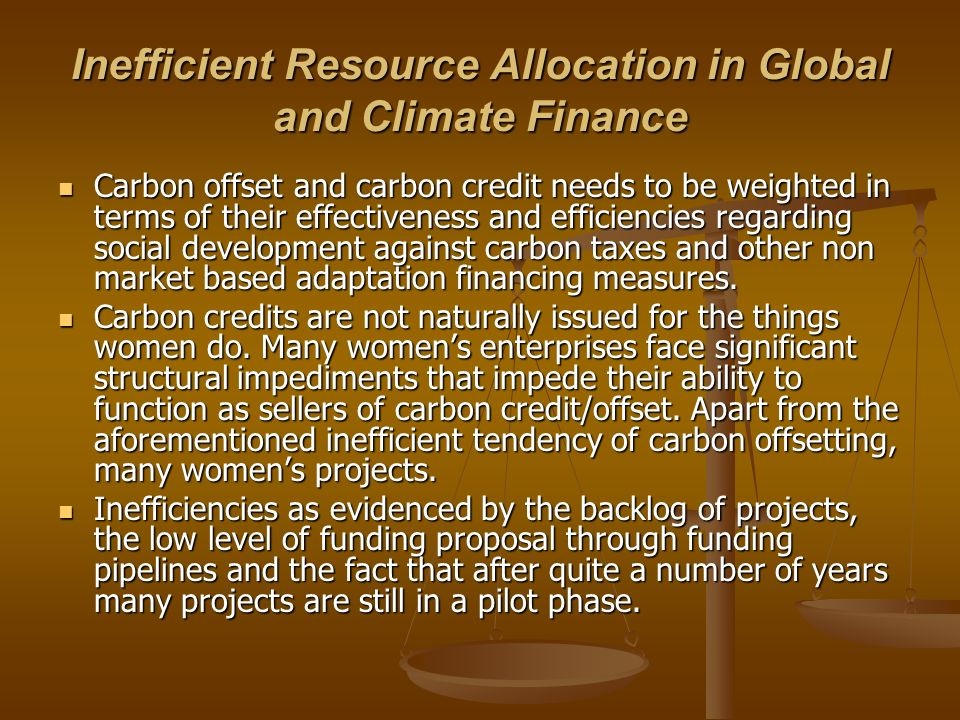 Inefficient Resource Allocation in Global and Climate Finance
