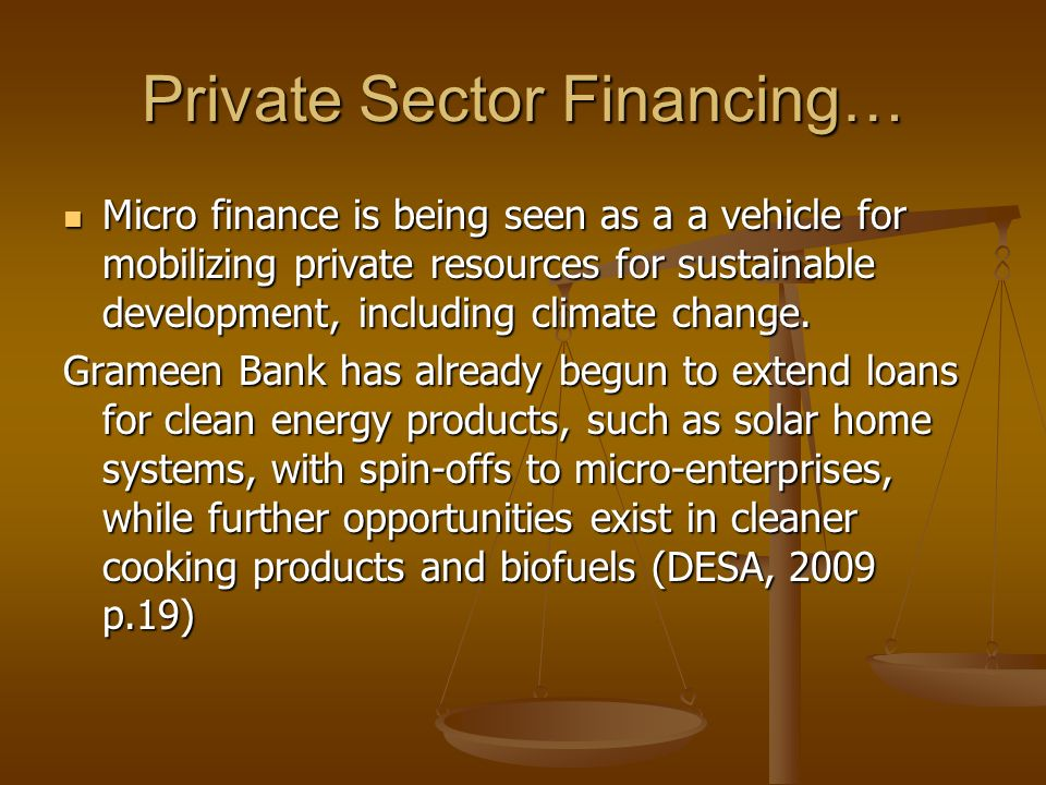 Private Sector Financing…