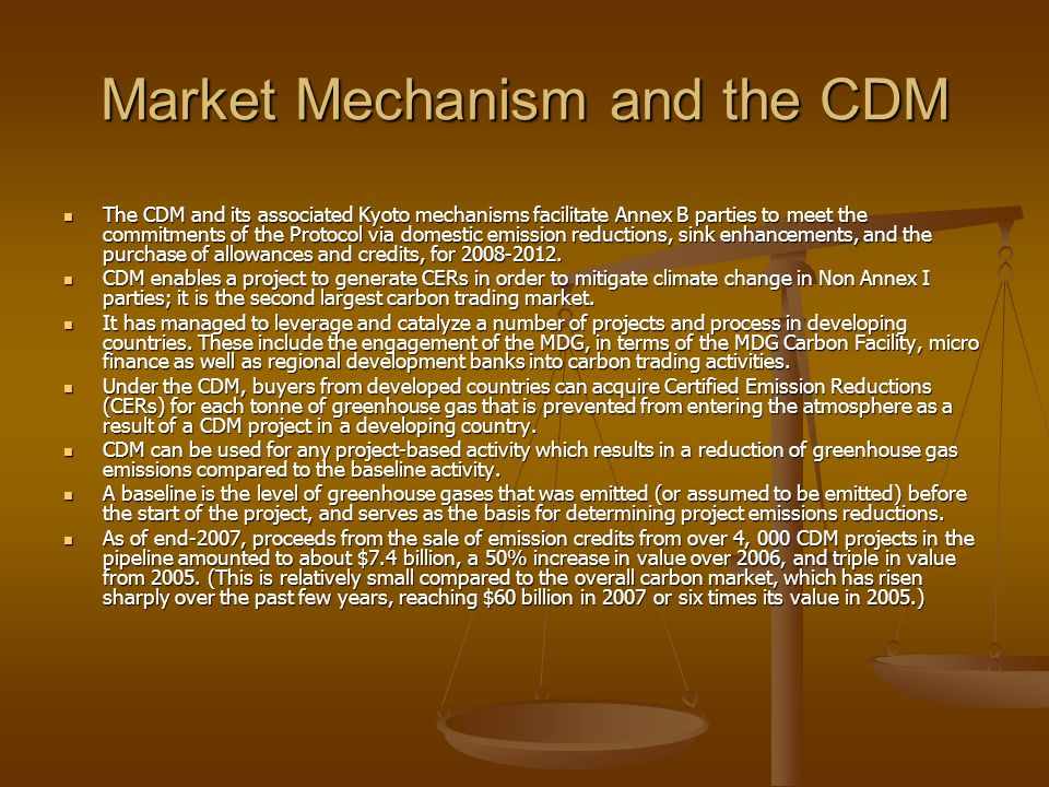 Market Mechanism and the CDM