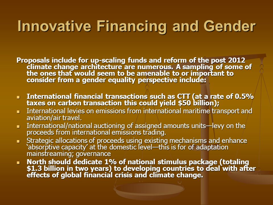 Innovative Financing and Gender