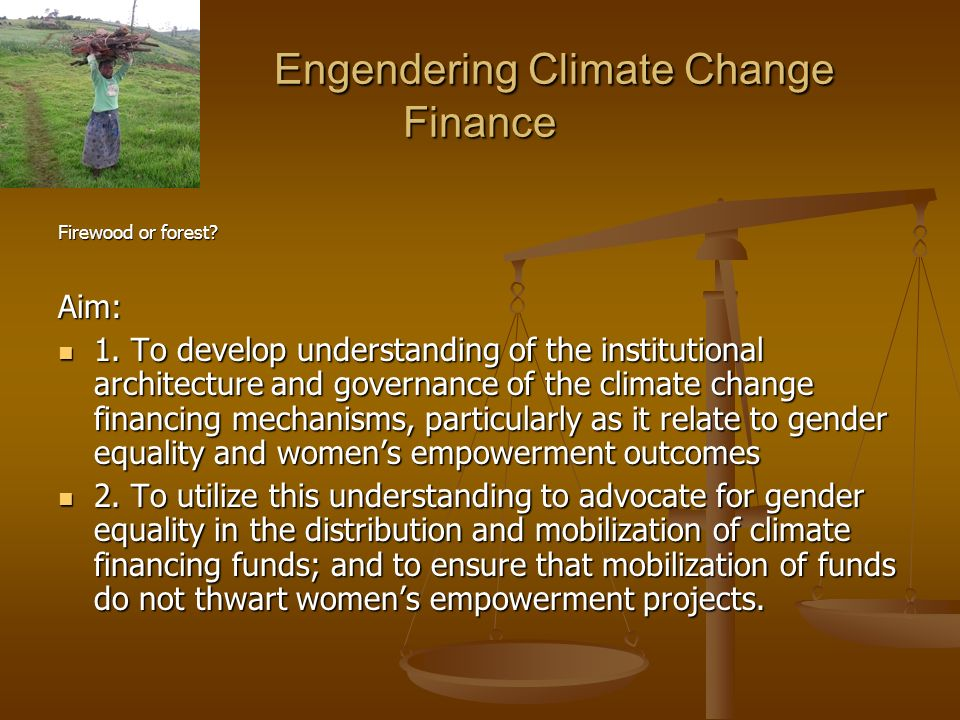 Engendering Climate Change Finance