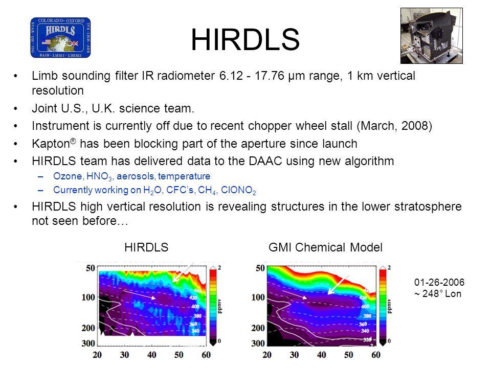 HIRDLSLimb sounding filter IR radiometer 6.12 - 17.76 µm range, 1 km vertical resolution. Joint U.S., U.K. science team.