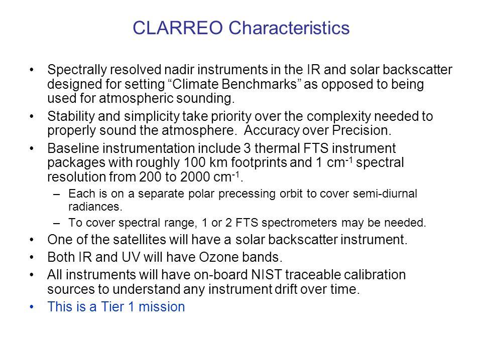 CLARREO Characteristics