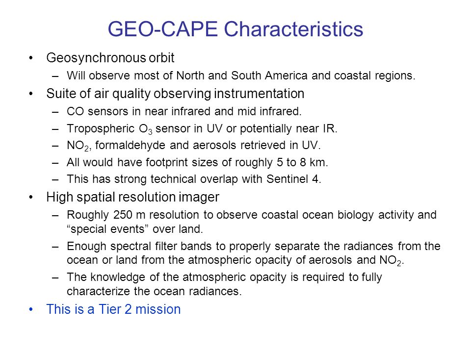 GEO-CAPE Characteristics