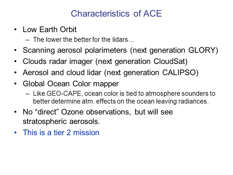 Characteristics of ACE