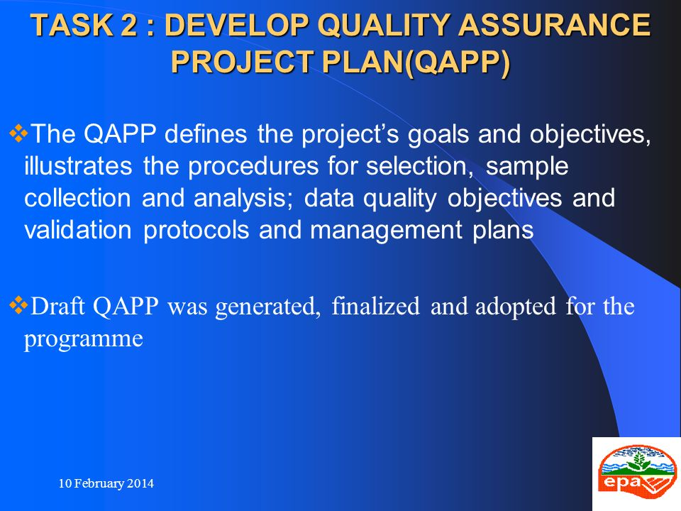 TASK 2 : DEVELOP QUALITY ASSURANCE PROJECT PLAN(QAPP)