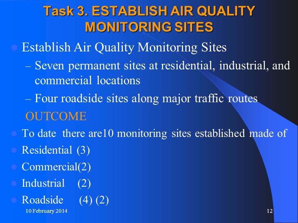 Task 3. ESTABLISH AIR QUALITY MONITORING SITES