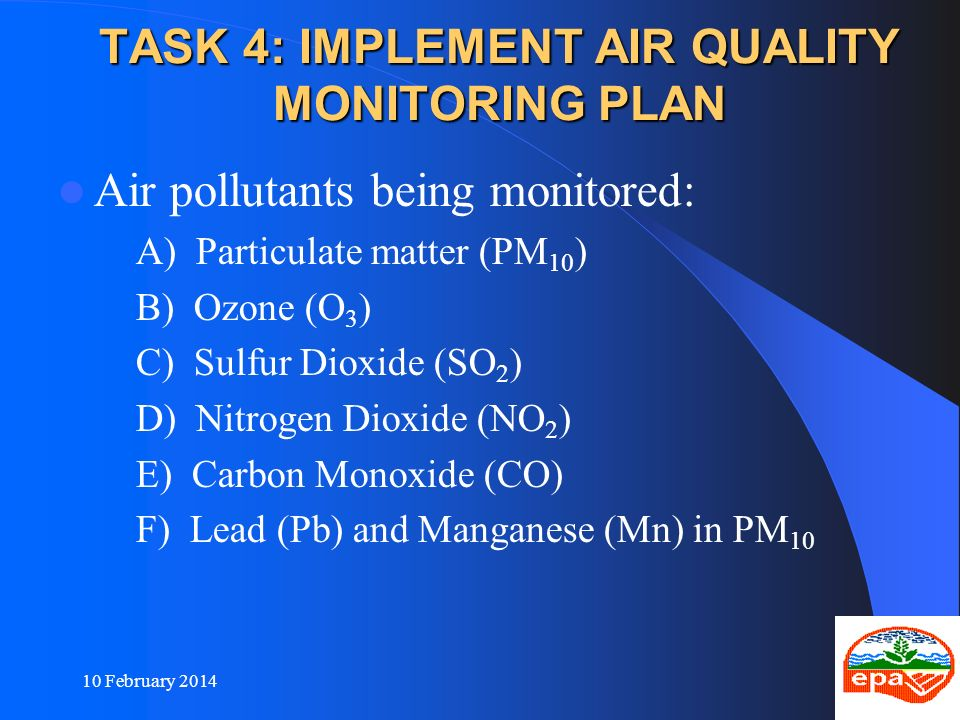 TASK 4: IMPLEMENT AIR QUALITY MONITORING PLAN